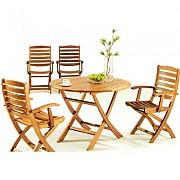 접이식 원형 원목 의자 탁자Set